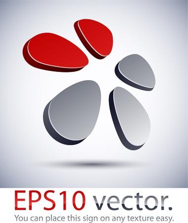 five petals: Vector illustration of 3D abstract flower business logo.