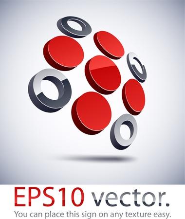 abstract cross: Illustrazione vettoriale di 3D logo astratto business croce. Vettoriali