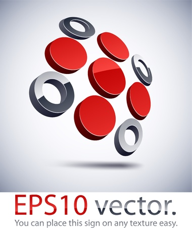 convex shape: Vector illustration of 3D abstract cross business logo.