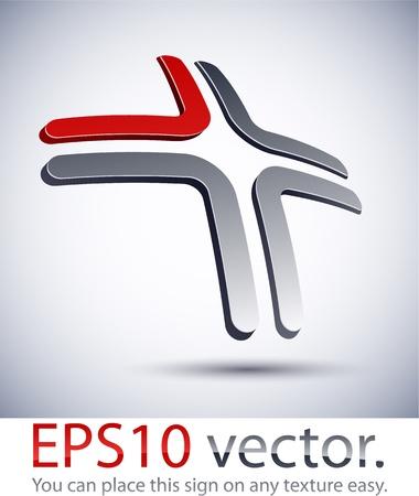 cruz roja: Ilustraci�n vectorial de 3D logotipo de la empresa cruz abstracta.