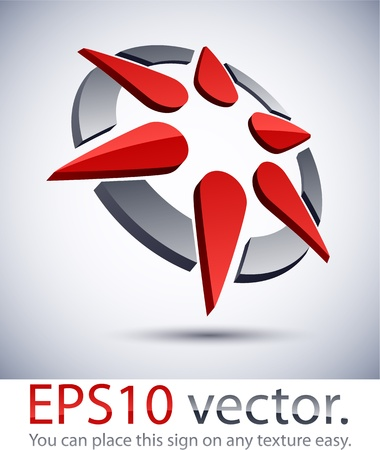 Vector illustration of 3D abstract star business logo.  Vector