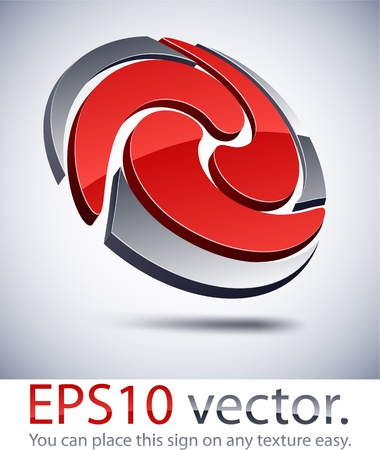 Vector illustration of 3D abstract swirl business logo.  Vector