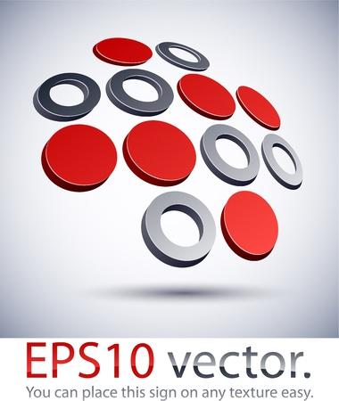 silver cross: Vector illustration of 3D abstract cross business logo. Illustration