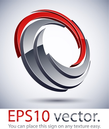 Vector illustration of 3D scroll abstract business logo.  Vector