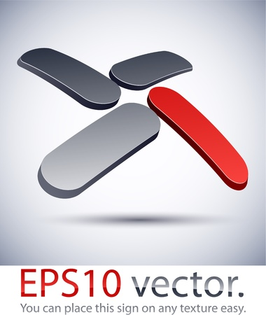 Vector illustration of 3D abstract  X business logo.  Vector