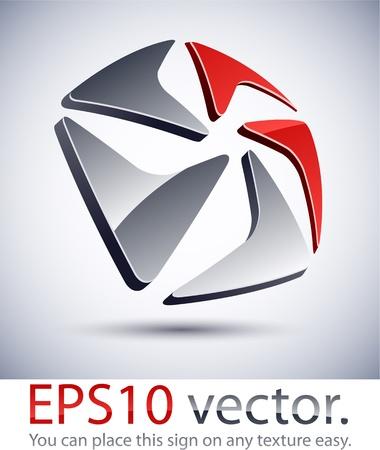 pentagonal: Vector illustration of pentagonal 3D abstract business logo. Illustration