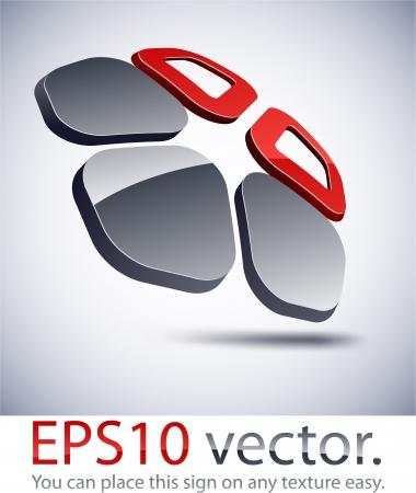 pentagonal: Vector illustration of 3D abstract pentagonal business logo. Illustration