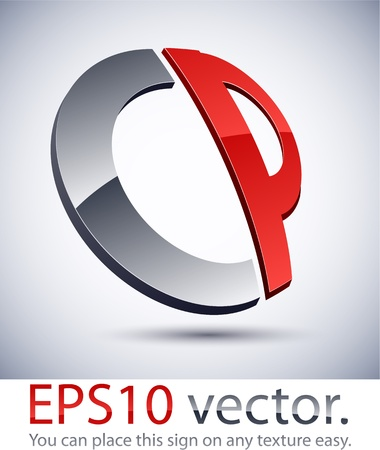 Vector illustration of 3D abstract CP business logo. Vector