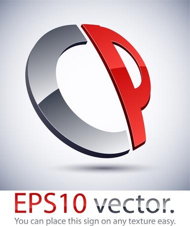 business logos: Vector illustration of 3D abstract CP business logo. Illustration