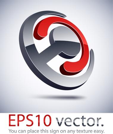 logos de empresas: Ilustraci�n vectorial de 3D logotipo abstracto de negocios conjuntos.