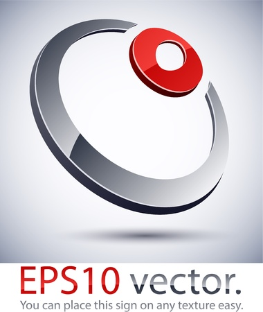 silver ring: Vector illustration of 3D abstract ring  business logo.  Illustration