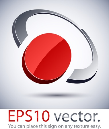 convex shape: Vector illustration of 3D abstract ring  business logo.  Illustration