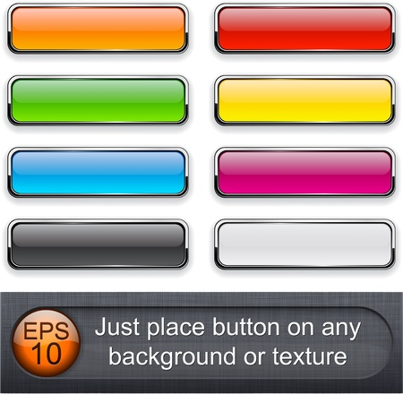 Different blending layer modes were used. You can easy place button on any background or texture.