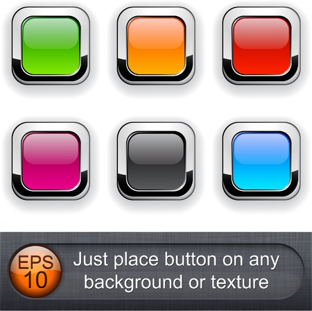 rounded squares:  Different blending layer modes were used. You can easy place button on any background or texture.