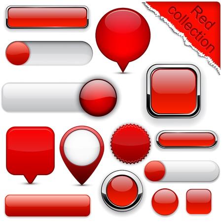 buttons: Blank pulsanti web rosse per sito web o un'applicazione. Vettoriali