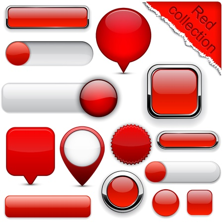 button: Blank red web buttons for website or app. Illustration