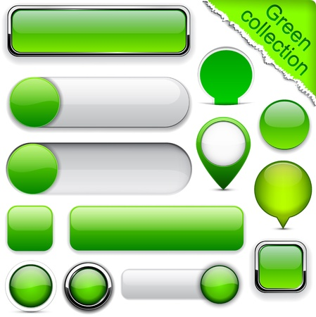 Blank green web buttons for website or app. Vector