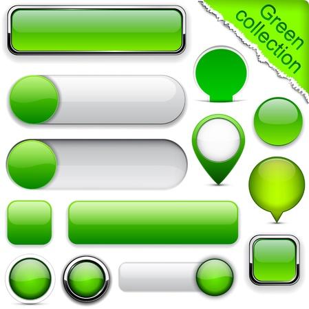 buttons: Blank pulsanti web verdi per sito web o un'applicazione. Vettoriali
