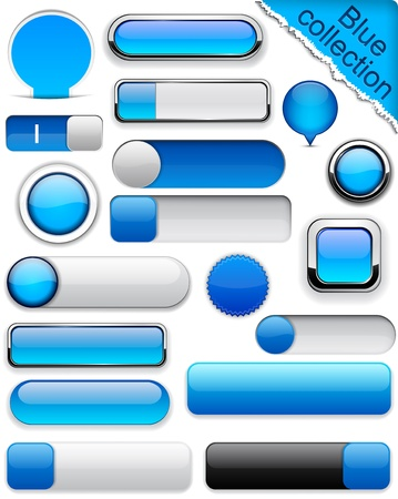 rectangular: Blank blue web buttons for website or app.