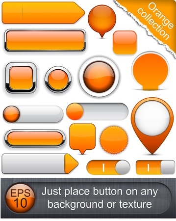 Blank orange web buttons for website or app. .