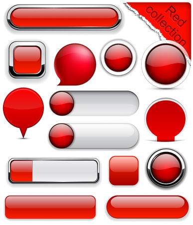 rounded squares: Blank red web buttons for website or app.  Illustration