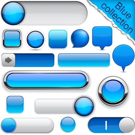button icon: Blank blue web buttons for website or app.