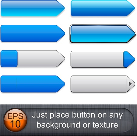 Blank blue web buttons for website or app.  Vector