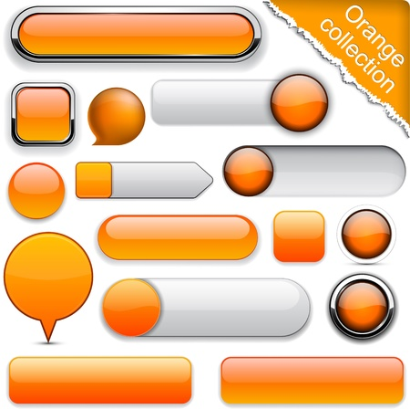 Blank orange web buttons for website or app.  Vector