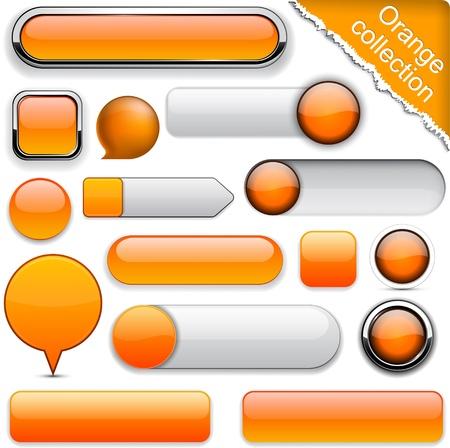knop: Blank oranje web knoppen voor de website of app.