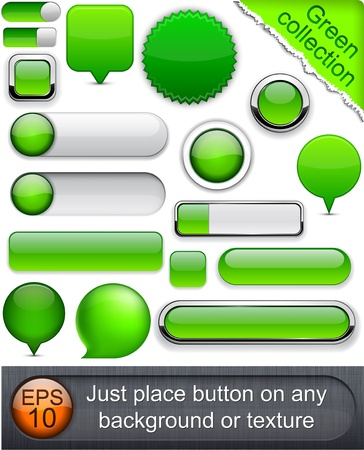 concave: Blank green web buttons for website or app.