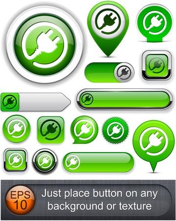 prise de courant: Boutons web fiche verte pour le site Web ou une application. Vecteur eps10.