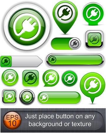 Plug web green buttons for website or app. Vector eps10. Stock Vector - 11937063