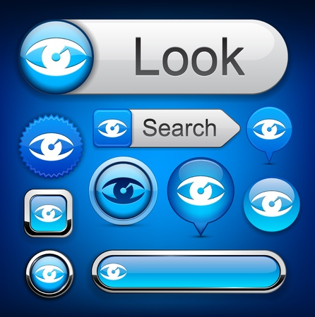 Eye Web-blaue Schaltflächen für Website oder App. Vector eps10.