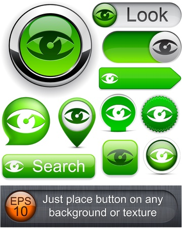 Eye web green buttons for website or app. Vector eps10. Stock Vector - 11937061