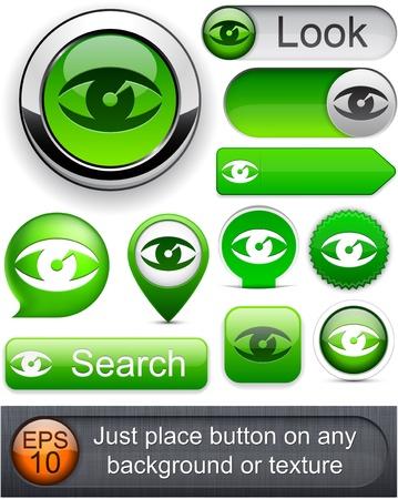 Eye web green buttons for website or app. Vector eps10.  Vector