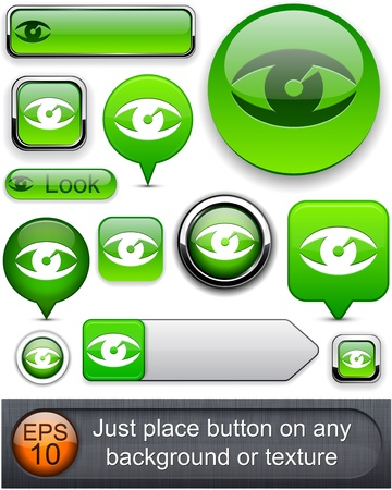 Eye web green buttons for website or app. Vector eps10. Stock Vector - 11937072