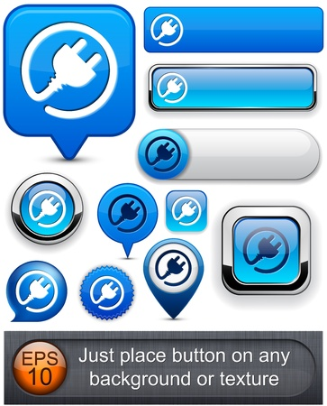 plug adapter: Plug web blue buttons for website or app. Vector eps10.