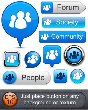Les gens web boutons bleus pour le site web ou une application. Vecteur eps10.