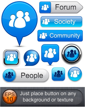 forums: People web blue buttons for website or app. Vector eps10.