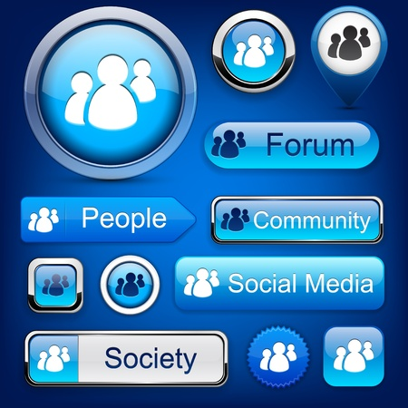 People web blue buttons for website or app. Vector eps10. Vector