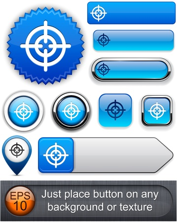 Hindsight web blue buttons for website or app. Vector eps10.  Vector