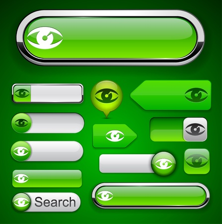 Eye web green buttons for website or app. Vector eps10.   Vector