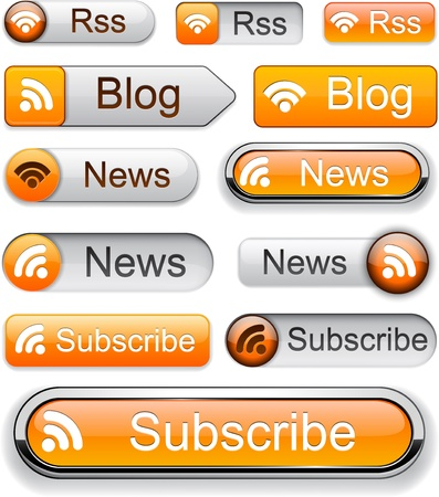 Rss web orange buttons for website or app. Vector eps10.  Vector