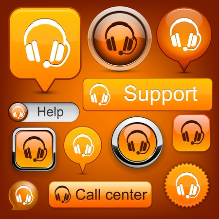 operators: Support web orange buttons for website or app. Vector eps10.
