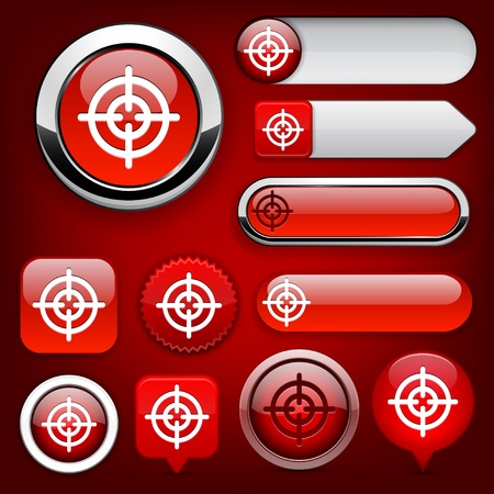 Hindsight web red buttons for website or app. Vector eps10.  Vector