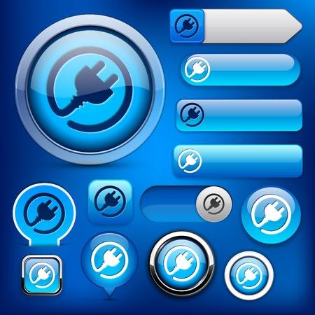 Plug web blauwe knoppen voor de website of app. Vector eps10.