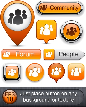 People web orange buttons for website or app. Vector eps10.  Vector