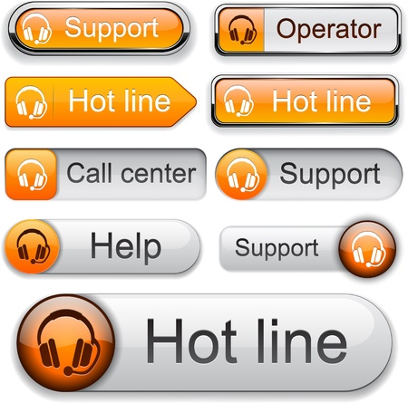 Support web orange buttons for website or app. Vector eps10.  Vector