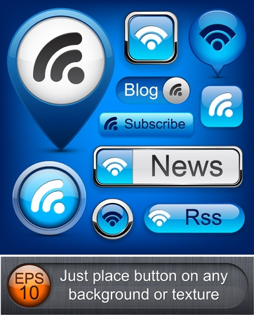 Rss web blue buttons for website or app. Vector eps10. Illustration