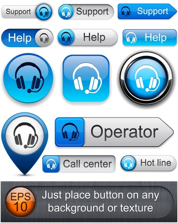 Support web blue buttons for website or app. Vector eps10.  Vector